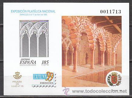 ESPAÑA EDIFIL Nº 68, EXFILNA 1999 (ZARAGOZA), PRUEBA DE LUJO (Sellos - España - Pruebas y Minipliegos)