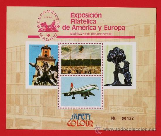 ESPAÑA - HOJITA RECUERDO - ESPAMER 80 - EXP. FIL.- SAFETY COLOUR - 1 HOJA .- NUEVA - AÑO 1980 (Sellos - España - Pruebas y Minipliegos)