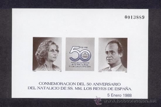 PRUEBAS OFICIALES DE LUJO Nº 15 - 50º ANIVERSARIO NATALICIO SS.MM. LOS REYES 1988 - PERFECTO ESTADO (Sellos - España - Pruebas y Minipliegos)