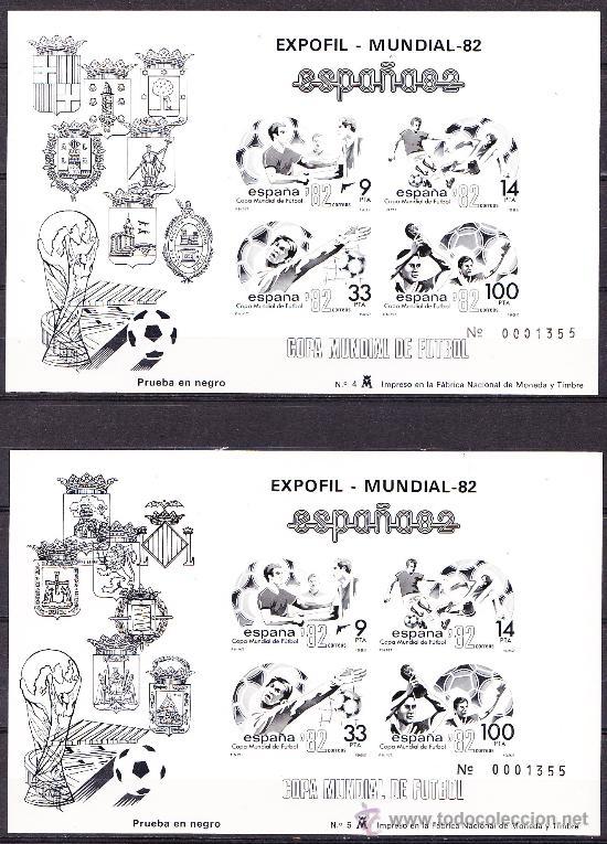 ESPAÑA 1982 PRUEBA DE LUJO MUNDIAL DE FUTBOL 1982 MISMA NUMERACIÓN EDIFIL 4/5 NUEVO ** (Sellos - España - Pruebas y Minipliegos)