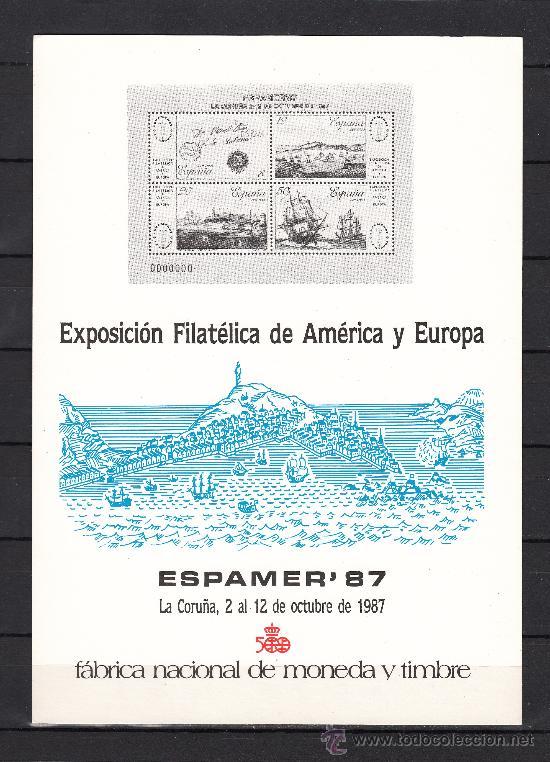 HOJA RECUERDO EXP. FIL. AMERICA EUROPA ESPAMER 87 FMNT, LA CORUÑA 2 AL 12 DE OCTUBRE 1987 (Sellos - España - Pruebas y Minipliegos)