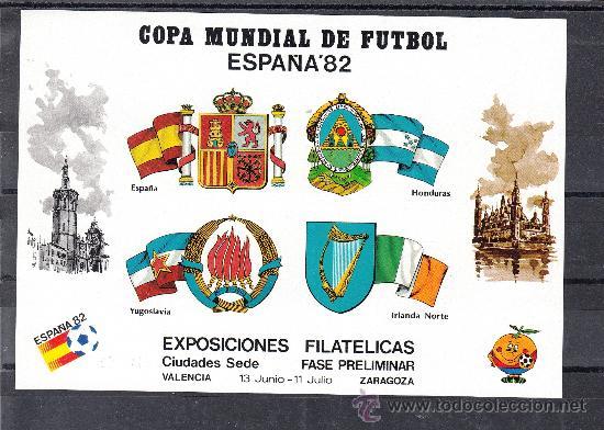 HOJA RECUERDO COPA MUNDIAL FUTBOL ESPAÑA 82 FASE PRELIMINAR CIUDADES SEDES SIN DENTAR VALENCIA, ZARA (Sellos - España - Pruebas y Minipliegos)