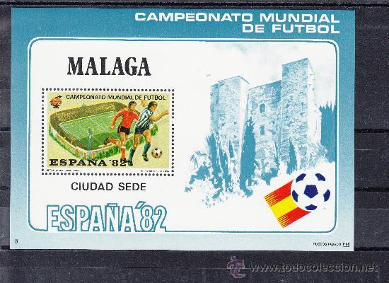HOJA RECUERDO COPA MUNDIAL FUTBOL ESPAÑA 82 CIUDAD SEDE 8 MALAGA, LA ROSALEDA (Sellos - España - Pruebas y Minipliegos)