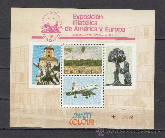 HOJA RECUERDO EXP. FIL. AMERICA Y ESPAÑA ESPAMER80 3 - 12 OCTUBRE 1980 MADRID (Sellos - España - Pruebas y Minipliegos)