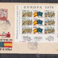 Sellos: HOJA RECUERDO XI FERIA SELLO, EXP. FIL. EUROPA 1978 EN SOBRE MATº MADRID 3/3/78 EXPO OCIO 78 . Lote 37088665
