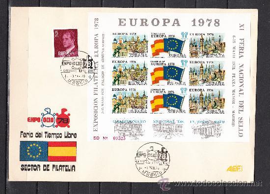 HOJA RECUERDO XI FERIA SELLO, EXP. FIL. EUROPA 1978 SIN DENTAR EN SOBRE MATº MADRID 3/3/78 EXPO OCIO (Sellos - España - Pruebas y Minipliegos)