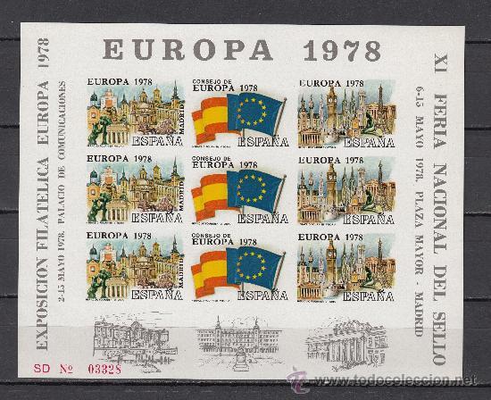 HOJA RECUERDO XI FERIA SELLO 6-15/5/78 Y EXP. FIL. EUROPA 1978 2-15/5/78 SIN DENTAR (Sellos - España - Pruebas y Minipliegos)