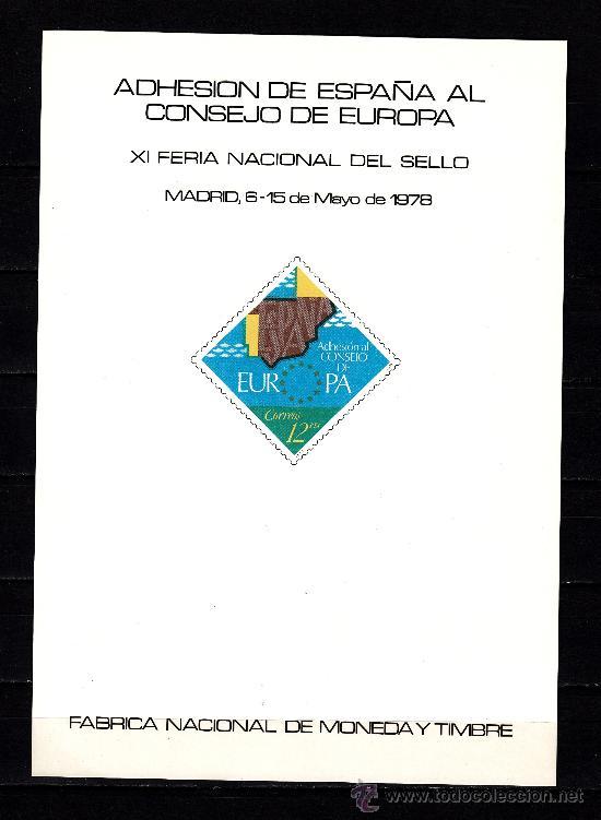 HOJA RECUERDO 64 FNMT ADHESION ESPAÑA AL CONSEJO DE EUROPA, XI FERIA NAC SELLO, + (Sellos - España - Pruebas y Minipliegos)