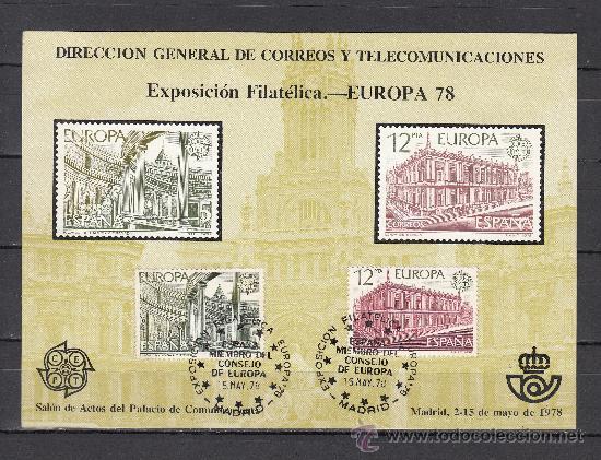 HOJA RECUERDO 59 FNMT EXP. FIL. EUROPA 78, MATº EXP. FIL. EUROPA 78 ESPAÑA + (Sellos - España - Pruebas y Minipliegos)