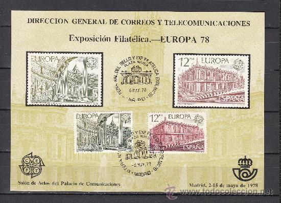 HOJA RECUERDO 59 FNMT EXP. FIL. EUROPA 78, MATº XI FERIA NAC. SELLO Y EXP. + (Sellos - España - Pruebas y Minipliegos)