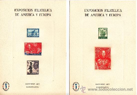 HOJA RECUERDO 53/4 EXP. FIL. AMERICA EUROPA ESPAMER 77, DESCUBRIMIENTO, COLON + (Sellos - España - Pruebas y Minipliegos)