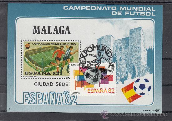 HOJA RECUERDO COPA MUNDIAL FUTBOL ESPAÑA 82 CIUDAD SEDE 8 MALAGA USADA, LA ROSALEDA (Sellos - España - Pruebas y Minipliegos)