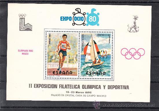 HOJA RECUERDO EXPO OCIO 8O, II EXP. FIL OLIMPICA Y DEPORTIVA, OLIMPIADA 1980 MOSCU, 15-23/3/1980 MAD (Sellos - España - Pruebas y Minipliegos)