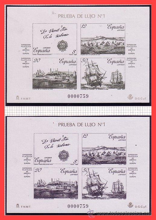 PRUEBAS OFICIALES 1987 EXPAMER´87 -MISMO NÚMERO- EDIFIL Nº 12 Y 13 (*) (Sellos - España - Pruebas y Minipliegos)