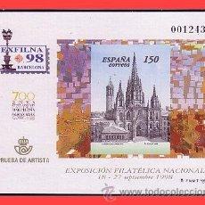 Sellos: PRUEBAS OFICIALES 1998 EXFILNA´98 BARCELONA EDIFIL Nº 66 (*). Lote 31559933