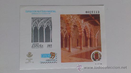 PRUEBA OFICIAL Nº 68 CATÁLOGO EDIFIL (PRUEBA DE LUJO Nº 15), EXFILNA'99 ZARAGOZA (Sellos - España - Pruebas y Minipliegos)