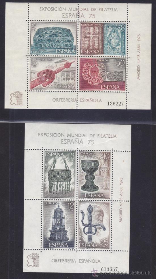 ESPAÑA 1975 EDIFIL 2252 - 2253, EXPOSICION MUNDIAL DE FILATELIA ESPAÑA 75, NUEVO SIN FIJASELLOS ** (Sellos - España - Pruebas y Minipliegos)