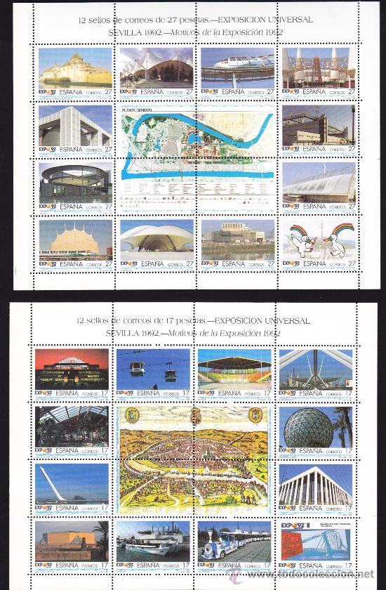 ESPAÑA 1992 EXPOSICION UNIVERSAL DE SEVILLA EXPO 92, NUEVAS SIN FIJASELLOS (Sellos - España - Pruebas y Minipliegos)