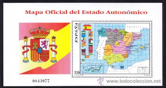 ESPAÑA 1996, EDIFIL 3460, MAPA OFICIAL DEL ESTADO AUTONOMICO, NUEVA SIN FIJASELLOS (Sellos - España - Pruebas y Minipliegos)