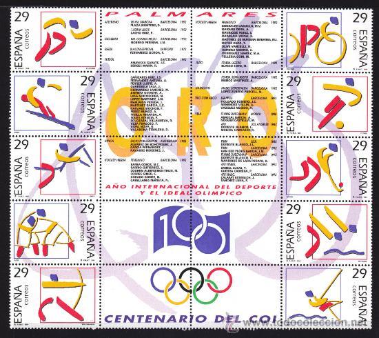 ESPAÑA 1994 EDIFIL 3325 AL 3334 DEPORTES OLIMPICOS DE ORO NUEVA SIN FIJASELLOS (Sellos - España - Pruebas y Minipliegos)