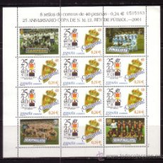 Sellos: ESPAÑA MP 75*** - AÑO 2001 - DEPORTES - FÚTBOL - 25 AÑOS DE LA COPA DEL REY - REAL ZARAGOZA CAMPEÓN. Lote 117971114