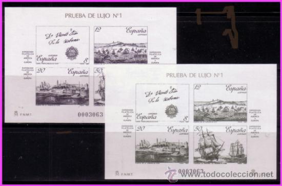 PRUEBA OFICIAL 1987 EXPAMER LA CORUÑA, EDIFIL Nº 12 Y 13 (Sellos - España - Pruebas y Minipliegos)