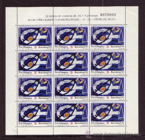 Sellos: ESPAÑA MP 32/34*** - AÑO 1991 - JUEGOS OLIMPICOS DE BARCELONA - TENIS - TENIS DE MESA - TIRO - Foto 2 - 36732403