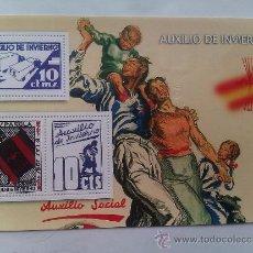 Sellos: HOJA BLOQUE 3 SELLOS BANDO NACIONAL. FALANGE ESPAÑOLA DE LAS JONS. AUXILIO SOCIAL. . Lote 128469167
