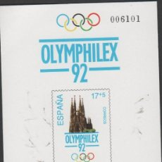 Sellos: L16-4 PRUEBA OFICIAL Nº 26 - XXV OLIMPIADA BARCELONA ' 92 - HOLYMPHILEX 92. Lote 37319511