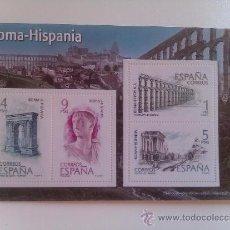 Sellos: HOJA BLOQUE 4 SELLOS. ROMA – HISPANIA. TRAJANO. ARCO DE BARÁ TARRAGONA. ACUEDUCTO DE SEGOVIA.. Lote 37397953