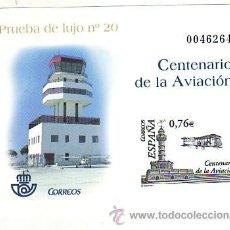 Sellos: PRUEBA OFICIAL Nº 82 - CENTENARIO AVIACIÓN 2003. CAT. 12.-. Lote 53213591