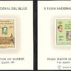 Sellos: 1977-X FERIA DEL SELLO. L ANIVER. MERCADO FILAT. DE LA P. MAYOR. MADRID-HOJA RECUERDO ED. Nº47 Y 48 . Lote 40986646