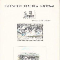 Sellos: HOJA RECUERDO EXP. FIL. NAC. EXFILNA 91, EDITADA POR FMNT, MADRID 12-18 DICIEMBRE 199, PRADERA GOYA. Lote 176623428