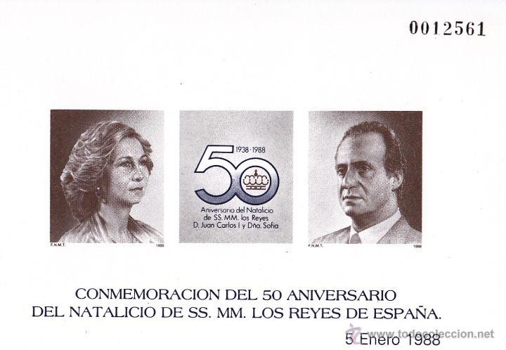 50 ANIVERSARIO NATALICIO REYES. 1988. PRUEBA DE LUJO. EDIFIL Nº 15. PERFECTA. (Sellos - España - Pruebas y Minipliegos)