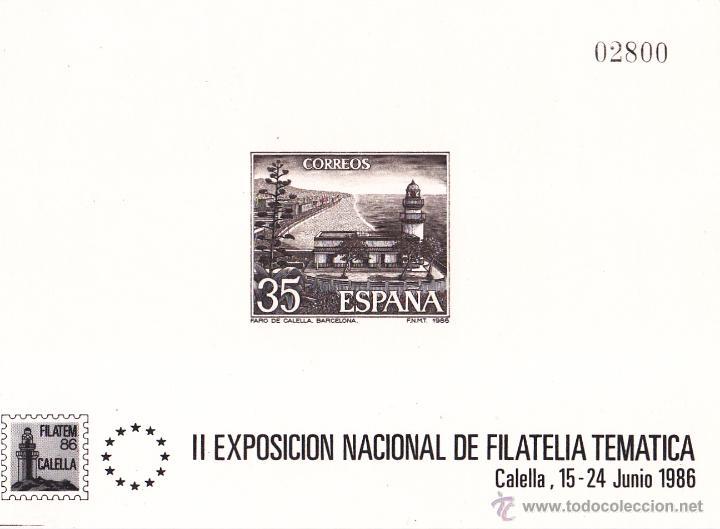 II EXPOSICIÓN FILATEM. FARO DE CALELLA. AÑO 1986. PRUEBA LUJO Nº 9 EDIFIL. PERFECTA. Nº 2.800. (Sellos - España - Pruebas y Minipliegos)