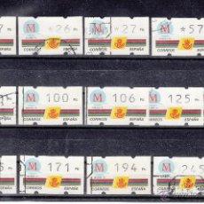 Sellos: ,ETIQUETA KLUSSENDORT C.1.5 USADA, LOTE DE 13 FACIALES DIFERENTES, MADRID CAPITAL EUROPEA DE LA CULT. Lote 50066011