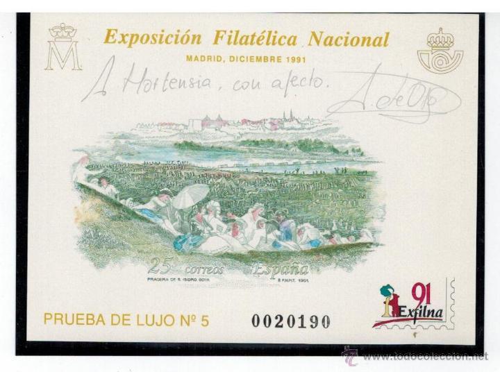 PRUEBA DE LUJO EXFILNA 1991 FIRMADA POR EL GRABADOR (Sellos - España - Pruebas y Minipliegos)