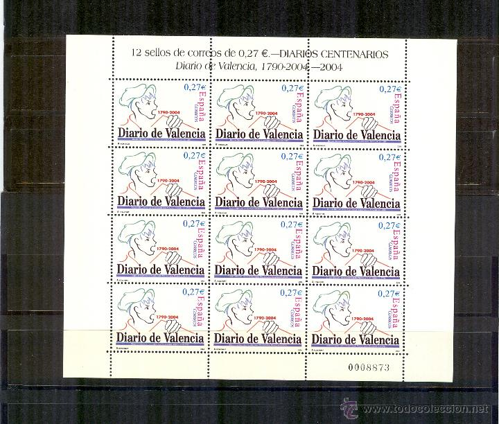 MP 85 4094 MINIPLIEGO DIARIO DE VALENCIA 2004.PERFECTO ESTADO (Sellos - España - Pruebas y Minipliegos)