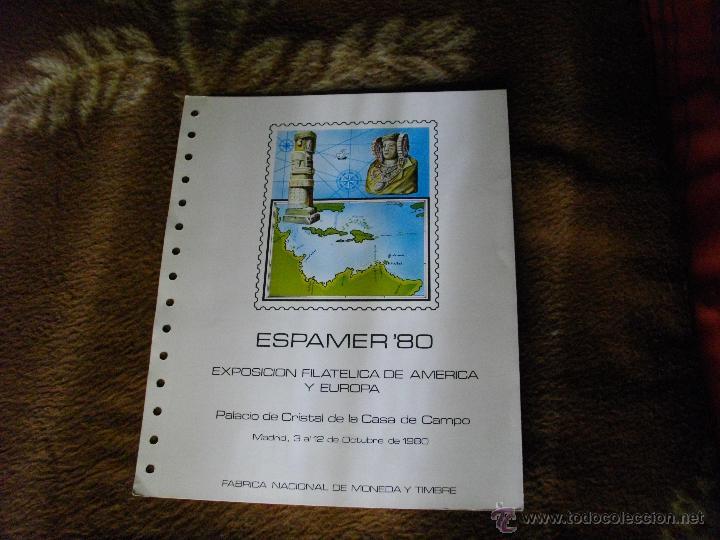 HOJA ALBUM DOBLE SELLOS ESPAMER 80 EXPOSICION AMERICA Y EUROPA (Sellos - España - Pruebas y Minipliegos)