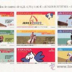 Sellos: ESPAÑA 2002. JUEGOS ECUESTRES MUNDIALES. JEREZ. MINIPLIEGO Nº 78. EDIFIL Nº 3898-04.. Lote 243270990