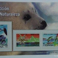 Sellos: HOJA BLOQUE 3 SELLOS PROTECCIÓN DE LA NATURALEZA Y FAUNA. ESPAÑA. SIN CIRCULAR. REPRODUCCIÓN. Lote 57389635