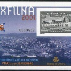Sellos: PRUEBA DE LUJO Nº 75 EXFILNA 2001 VIGO. Lote 58525471