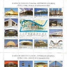 Sellos: ESPAÑA EXPOSICION UNIVERSAL DE SEVILLA. DOS MINIPLIEGOS DE 24 SELLOS NUEVOS SIN CHARNELA. Lote 62389556