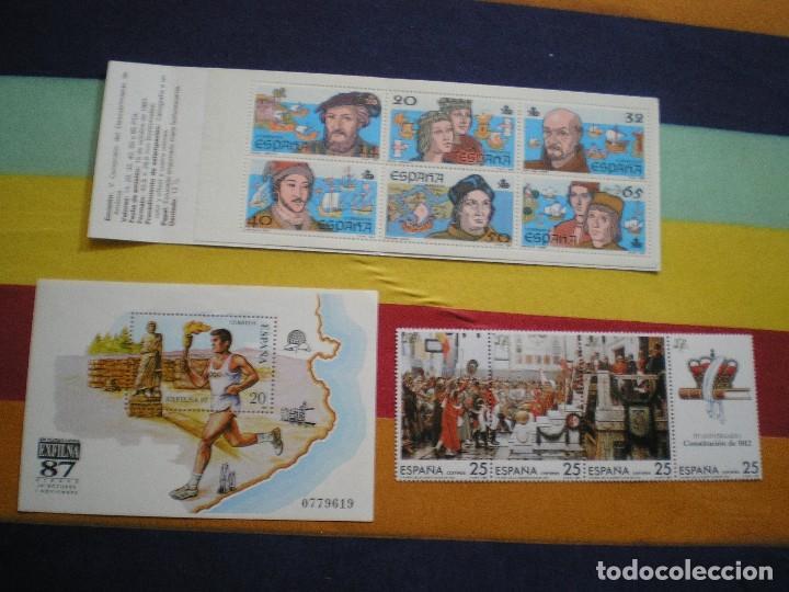 CARTERITA, DIPTICO Y HOJITA, AÑO 1.987 (Sellos - España - Pruebas y Minipliegos)