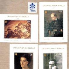 Sellos: CATALUNYA EN ELS SEGELLS - ART - AMADEU VIVES 114 - PAU CASALS 115 - FORTUNY 113 - ALMOGÀVERS SERT. Lote 64048159