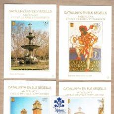 Sellos: CATALUNYA EN ELS SEGELLS - BARCELONA CIUTAT DE FIRES I CONGRESSOS - 73,74,75,76 - DAMA DEL PARAIGÜES. Lote 64104567