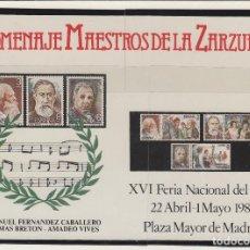 Selos: HOJA RECUERDO . AÑO 1983 - HOMENAJE MAESTROS DE LA ZARZUELA - XVI FERIA NACIONAL SELLO. Lote 70281209