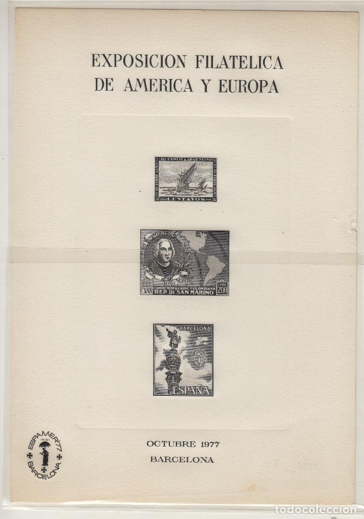 HOJA RECUERDO EN NEGRO Nº 56 AÑO 1977 . ESPAMER 77 . EXPOSICIÓN FILATÉLICA AMÉRICA Y EUROPA (Sellos - España - Pruebas y Minipliegos)