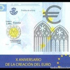 Sellos: ESPAÑA 2009 - PRUEBA X ANIVERSARIO DE LA CREACION DEL EURO - EDIFIL Nº 98. Lote 294019888