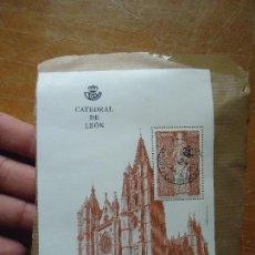 Sellos: BLOQUE SELLO CATEDRAL DE LEON CON MATASELLOS - VALOR 2,90 EUROS, USADO SOBRE PAPEL . Lote 71456791